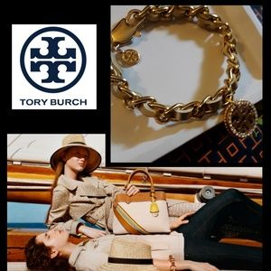 New! 💫Tory Burch Gold Leather Link Bracelet!